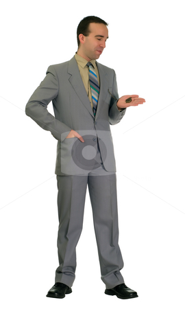 Businessman With Pocket Watch stock photo, Full length view of a young businessman looking at his pocket watch, isolated against a white background by Richard Nelson