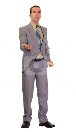 Businessman Asking For Money stock photo, Full body view of a young businessman asking for money with his hand out by Richard Nelson