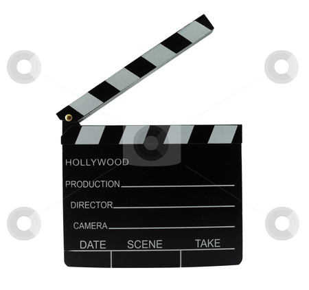 Clapboard stock photo, Directors clapboard isolated on a white background by Brent Hathaway