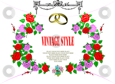 Wedding or Valentine`s day card stock vector clipart, Wedding or Valentine`s day card, Vintage style. by Leonid Dorfman