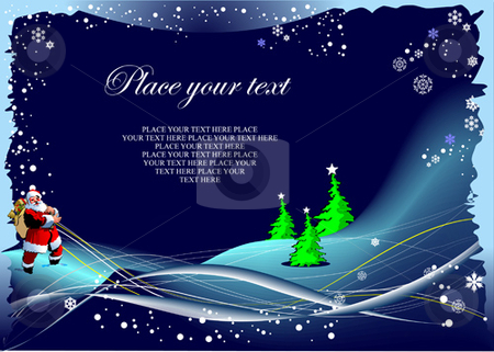 Blue winter background with Santa image stock vector clipart, Blue winter background with Santa image by Leonid Dorfman