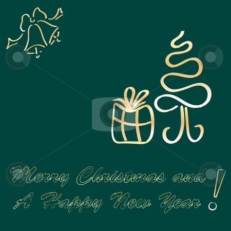 Greeting card stock vector clipart, Merry Christmas and A Happy New Year Greeting card, illustration by Milsi Art