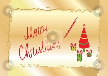 Christmas greeting card  stock vector clipart, Merry Christmas greeting card template, vector illustration by Milsi Art