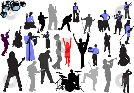 Orchestra silhouettes stock vector clipart, Orchestra silhouettes. 27 vector illustrations by Leonid Dorfman