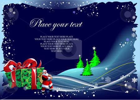 Blue winter background stock vector clipart, Blue winter background with Santa and box with gifts by Leonid Dorfman