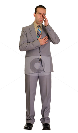 Crying Businessman stock photo, Full body view of a businessman looking sad, isolated against a white background by Richard Nelson
