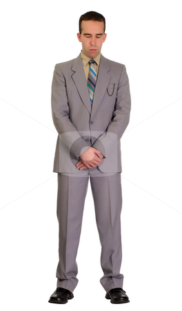 Mourning stock photo, Full length view of a man wearing a suit in mourning, isolated against a white background by Richard Nelson