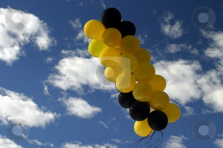 Balloons stock photo, Yellow and black balloons with blue and white sky in the background. by Henrik Lehnerer