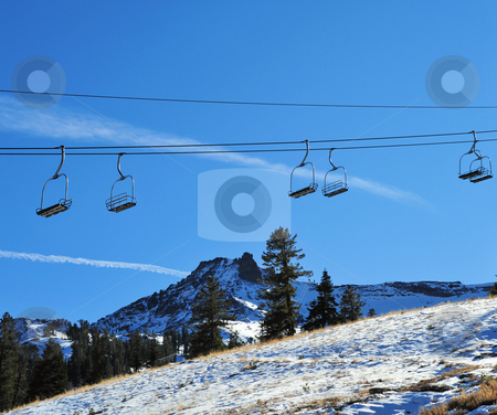 Empty Ski Lift stock photo, Ski lift in the California Sierra's at late Autumn waiting for winter show by Lynn Bendickson