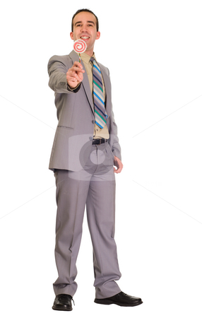 Sharing Candy stock photo, Full body view of a man wearing a suit, holding some fake candy out to the camera by Richard Nelson