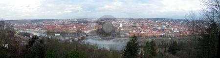 Wuerzburg stock photo, Panoramic cityscape of the Franconia city Wuerzburg in Bavaria Germany by Henrik Lehnerer