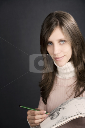 Pretty Artist stock photo, Pretty female artist with pencil and drawing pad by Scott Griessel