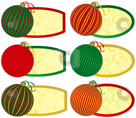 Six Elegant Christmas Tags stock vector clipart, Six Elegant Christmas Tags with Ornaments by Adrian Sawvel