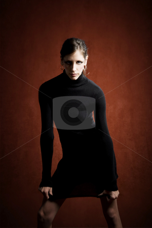 Beautiful Woman in a Black Dress stock photo, Beautiful Woman in a Stretchy Black Dress by Scott Griessel