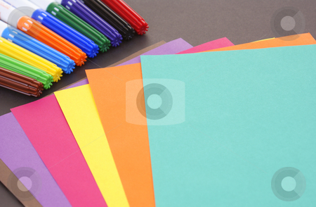 Accessories stock photo, Drawing accessories and sheet on black background by Jolanta Dabrowska