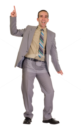 Dancing Businessman stock photo, Full body view of a dancing businessman, isolated against a white background by Richard Nelson