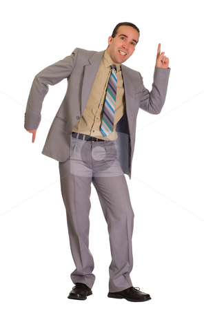 Old Time Dancing stock photo, Full body view of a businessman doing some dance moves by Richard Nelson