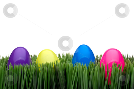 Colored eggs on grass stock photo, Colored eggs on grasson a white background by Vince Clements