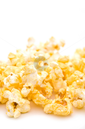 Shallow focus closeup of popcorn stock photo, Shallow focus closeup of popcorn by Vince Clements