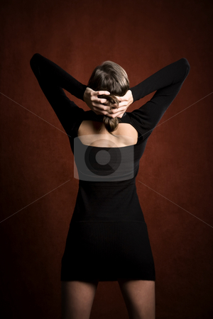 Pretty Woman in a Black Dress stock photo, Pretty Woman in a Stretchy Knit Black Dress from Behind by Scott Griessel