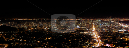 San Francisco by night stock photo, A view on San Francisco from Twin Peaks by night by Ivan Paunovic