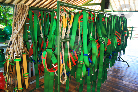 Harnesses stock photo, A bunch of human harnesses hanging on a rack by Jonas Marcos San Luis