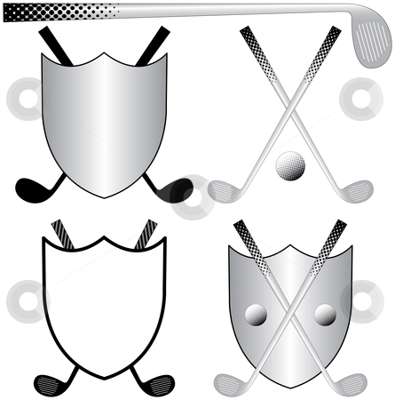 Golfing Logos stock vector clipart, Several Golfing Logos with Clubs, Ball and Shields by Adrian Sawvel