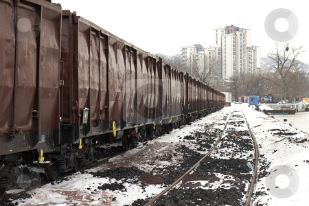 Trains in freight yard winter stock photo, Trains in freight yard winter Serbia by Mark Yuill