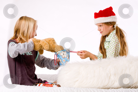 Christmas fight  take the bear stock photo, Two children having a fight about the present by Frenk and Danielle Kaufmann