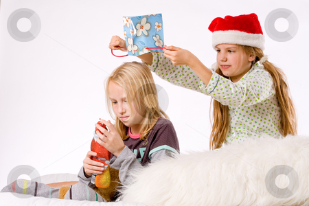 Christmas fight revenge stock photo, Two children having a fight about the present by Frenk and Danielle Kaufmann