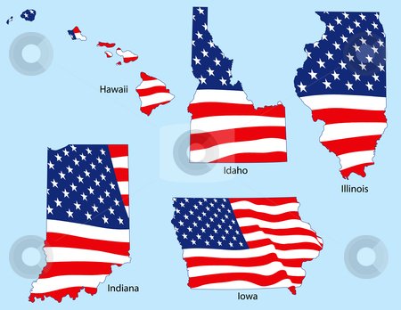 Five States with Flags stock vector clipart, Hawaii, Idaho, Illinois, Indiana and Iowa outlines with flags, each individually grouped by Adrian Sawvel
