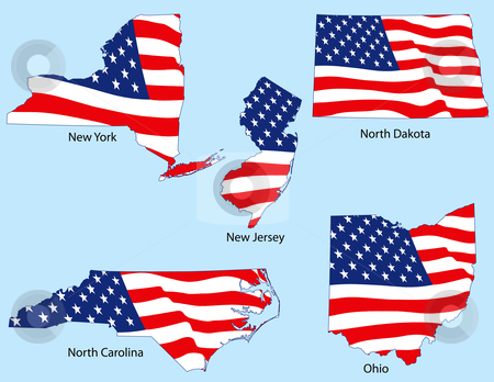 Five States with Flags stock vector clipart, New York, New Jersey, North Dakota, North Carolina, Ohio outlines with flags, each individually grouped by Adrian Sawvel