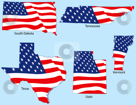 Five States with Flags stock vector clipart, South Dakota, Tennessee, Texas, Utah and Vermont outlines with flags, each individually grouped by Adrian Sawvel