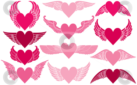 Hearts with Wings stock vector clipart, Hearts with Wings by Adrian Sawvel