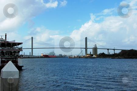 Savannah Bridge stock photo, A bridge across the river in Savannah by Tim Markley