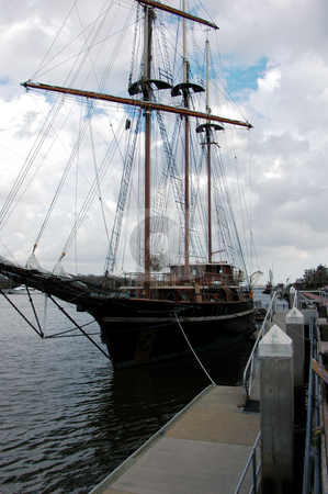 Sailing ship stock photo, Tall sailing ship at anchor in Savannah harbor by Tim Markley