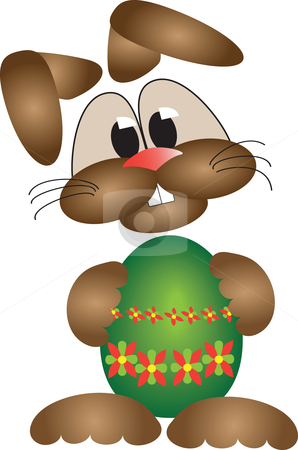 Happy easter bunny stock vector clipart, Happy easter bunny holding an colorful easter egg by Karin Claus