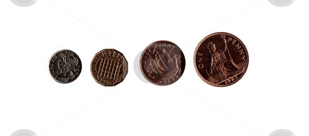 British Coins stock photo, An isolation of four common British coins by Kevin Tietz