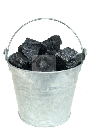 Coal in bucket stock photo, Pieces of coal in bucket isolated on white