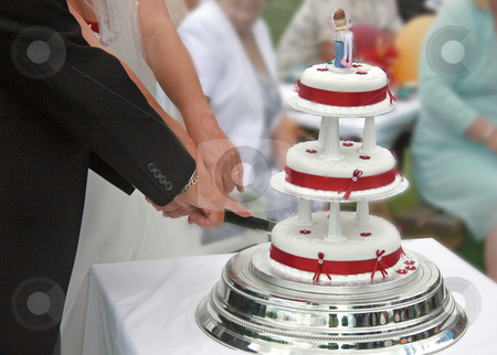 Bride and Groom cutting the Wedding Cake. stock photo, Bride and Groom cutting the Wedding Cake. by Lucy Clark