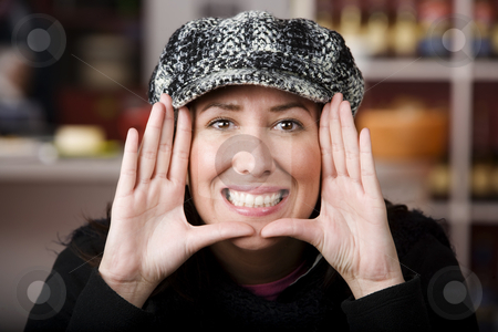 Pretty Woman Framing Her face stock photo, Pretty Woman Framing Face with her Hands by Scott Griessel