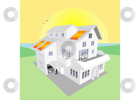 Solar Energy Home Vector stock vector clipart, Solar Energy Home (Vector image fully resizable and editable) by Edward White