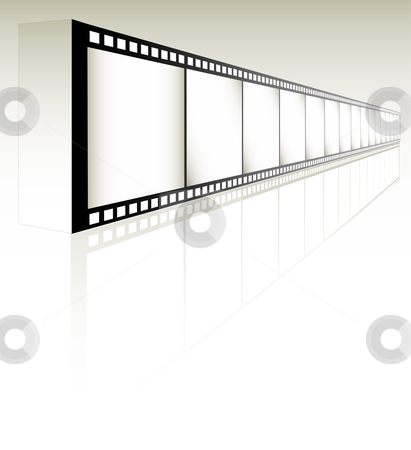Film Strip stock vector clipart, Film Strip on white with reflection (Vector image fully resizable and editable) by Edward White