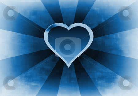 Blue heart background stock photo, Blue heart background - textured by John Teeter