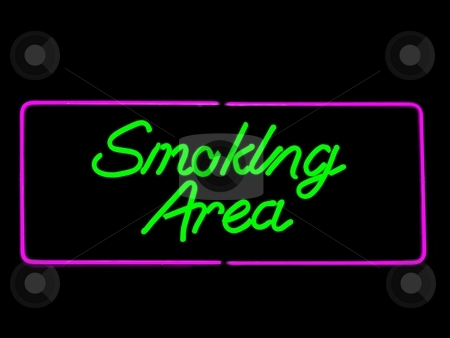 Smoking area stock photo, Smoking area neon sign isolated on black by Laurent Dambies