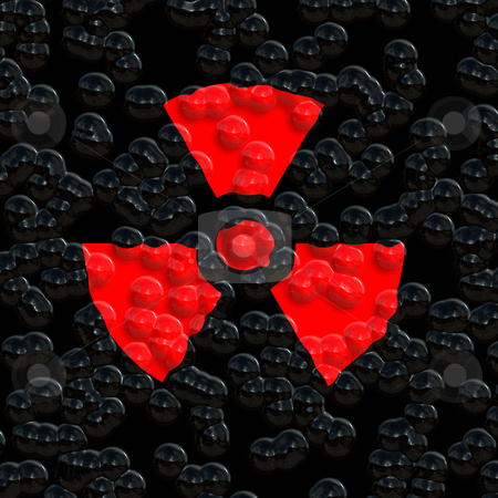 Nuclear warning stock photo, Bright red nuclear warning symbol on eroded background by Wino Evertz
