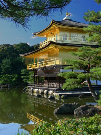 Golden Pavilion stock photo, Kinkakuji (Golden Pavilion) temple sitting over a pond. Kyoto, Japan by Martin Darley