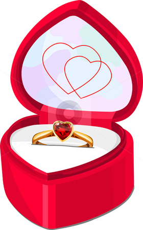 Box stock vector clipart, Ruby ring in red heart shaped box isolated on white background by Anna Vtlichkovsky