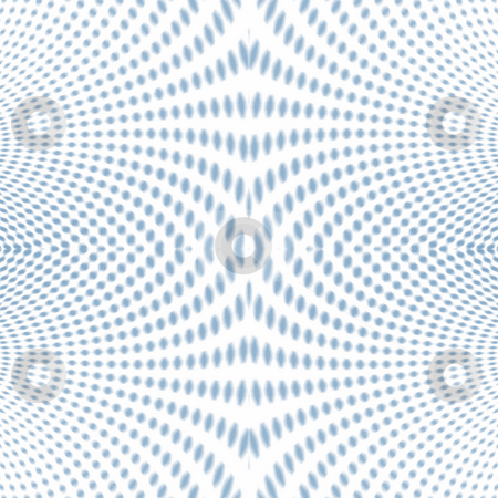 Psychedelic Soft focus halftone blue stock photo, Psychedelic halftone blue pattern with little dots and some zoom blur applied by Sybille Yates