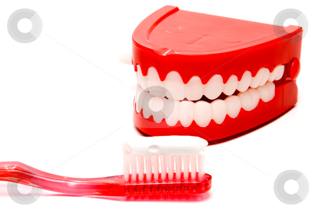 Dental Hygiene stock photo, A toothbrush and a set of chattering teeth in a glass. by Robert Byron